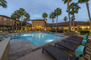 Three Bedroom Apartments for Rent in Northwest Houston, TX -Evening View of Clubhouse & Pool Area